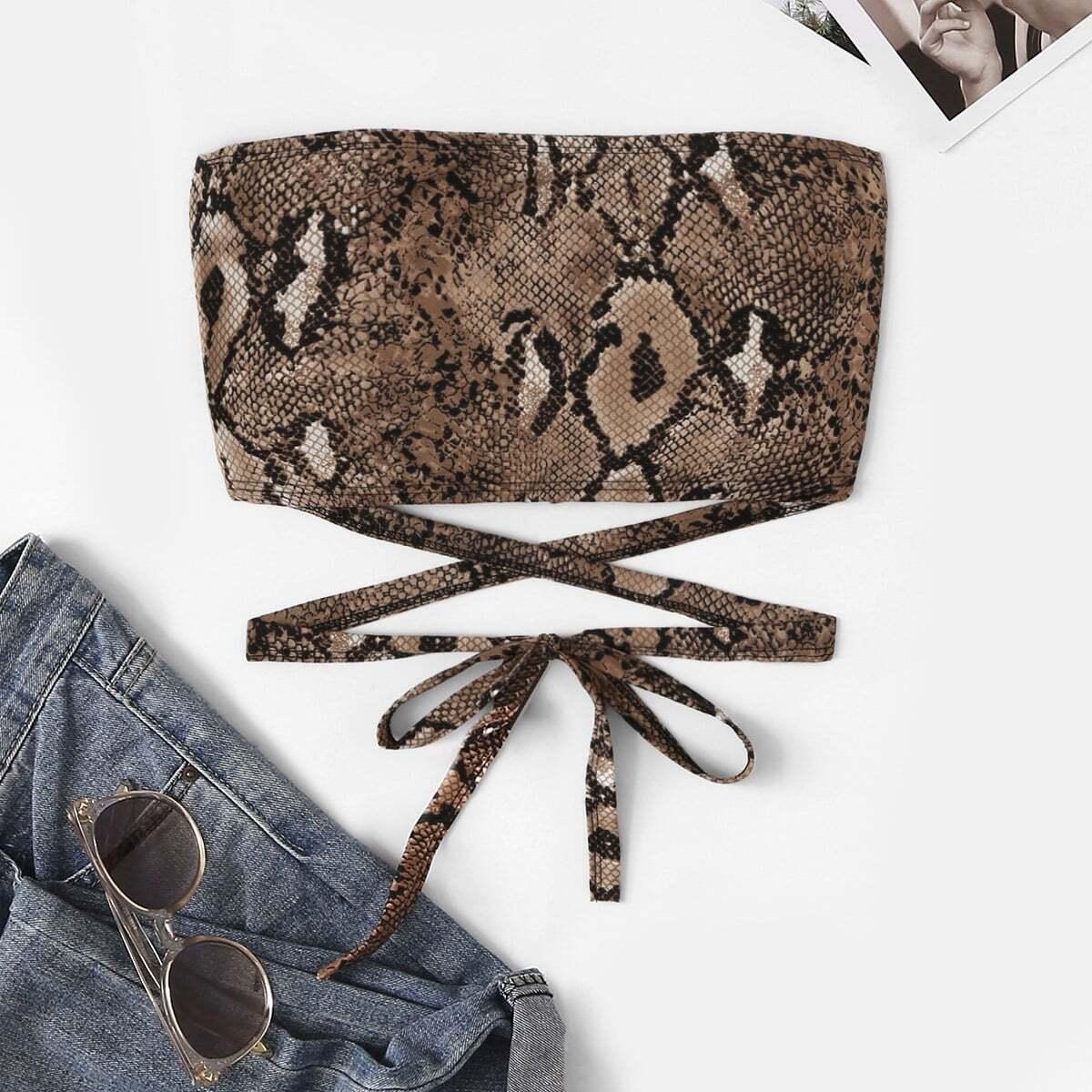 SHEIN / Top mit Schlange Muster, Kreuzgurte und Knoten