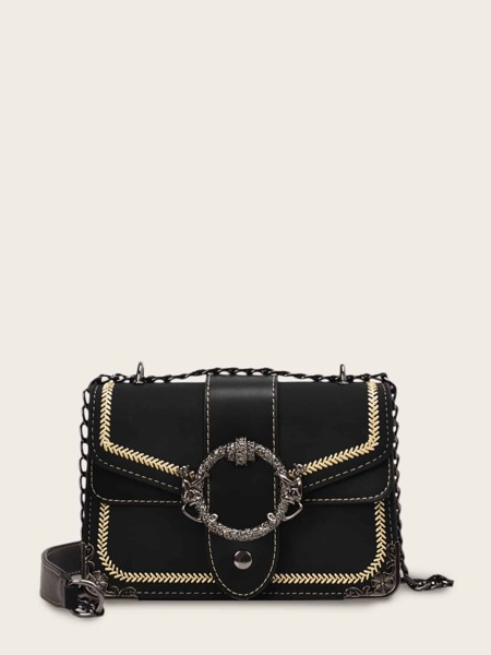 Stitch Detail Chain Crossbody Bag