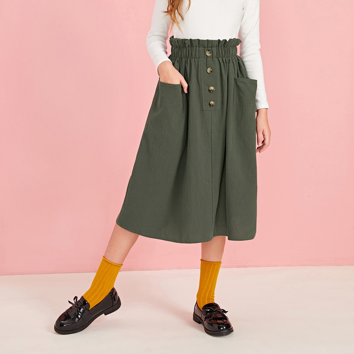 Юбка с присборенной талией и карманом для девочек от SHEIN