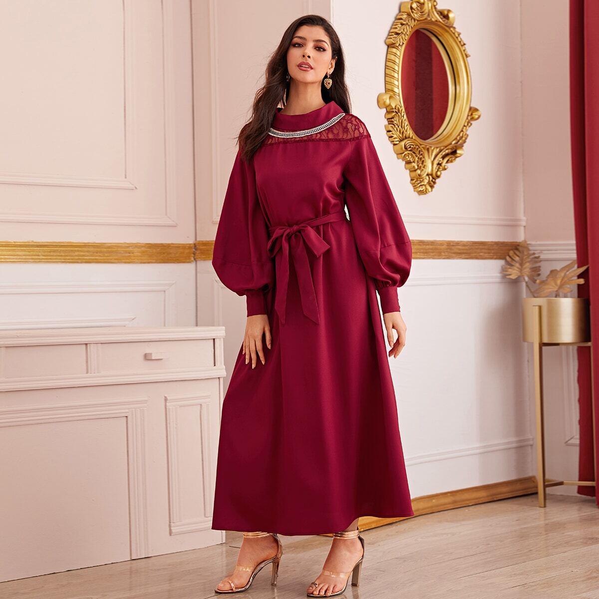 Bordeaux Elegant Vlak Arabische Kleding Zeeg