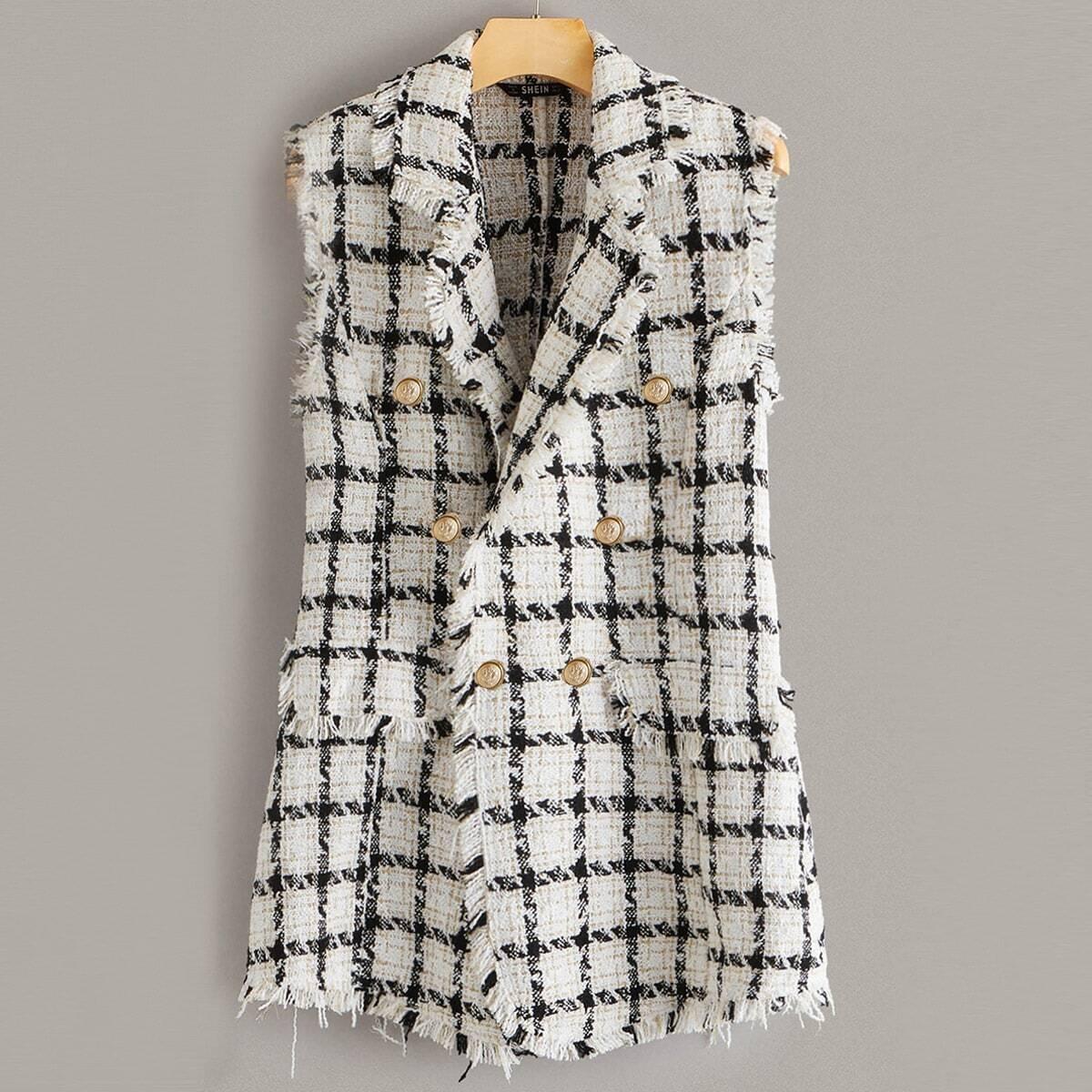 Твидовый пиджак без рукавов от SHEIN