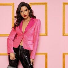 Neon Pink Satin Notch Collar Single Buttoned Sequin Blazer