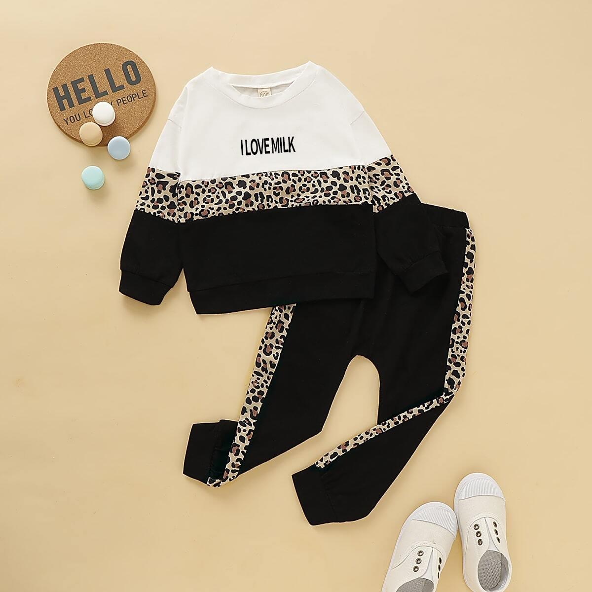 Контрастный свитшот и спортивные брюки для мальчиков от SHEIN