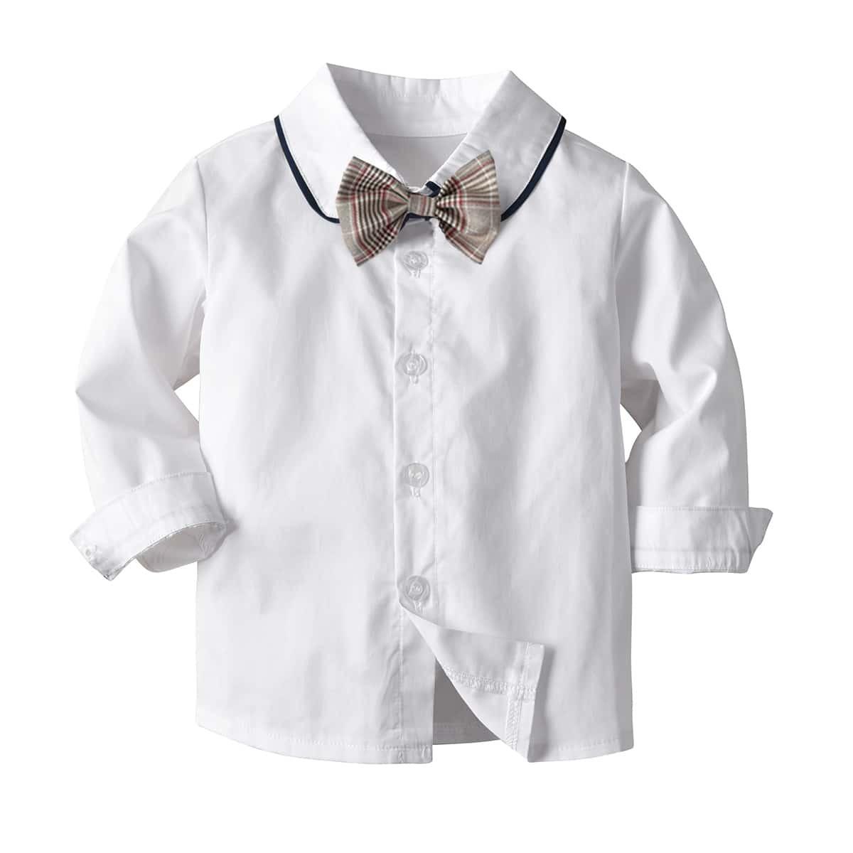 Рубашка с воротником-бантом и пуговицами для мальчиков от SHEIN