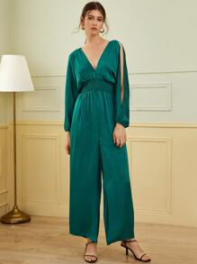 Plunging Neck Split Sleeve Shirred Waist Jumpsuit