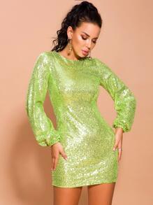 Lantern | Sequin | Sleeve | Green | Dress | Neon