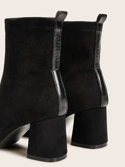SheIn / Suede Chunky Heeled Ankle Boots