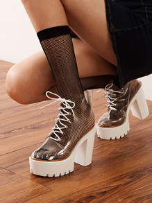 Lace-up Front Clear Chunky Heeled Boots