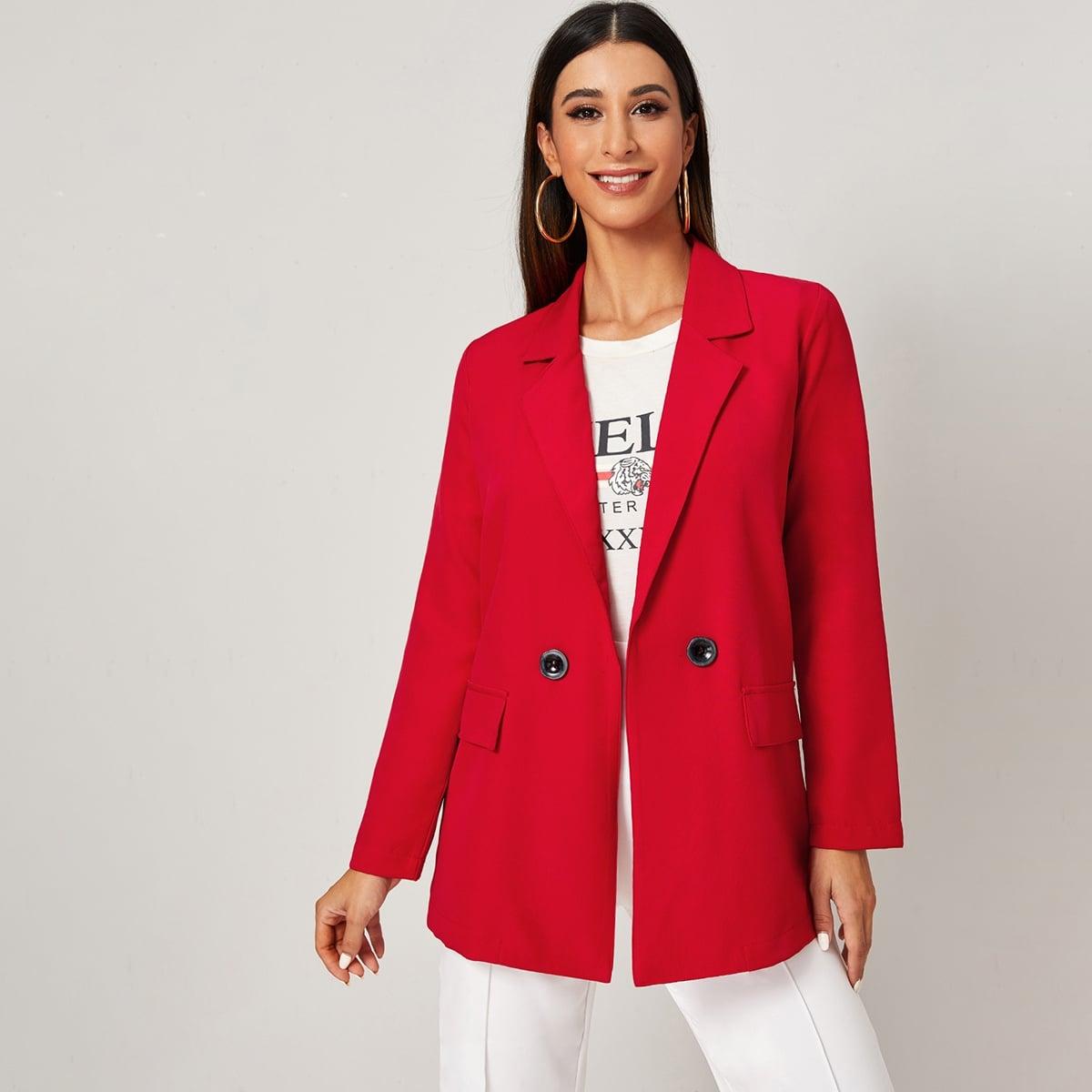 Пиджак с карманом и пуговицами от SHEIN