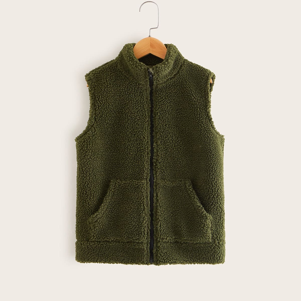 Leger groen Casual Vlak Jongens mantels en jassen Rits