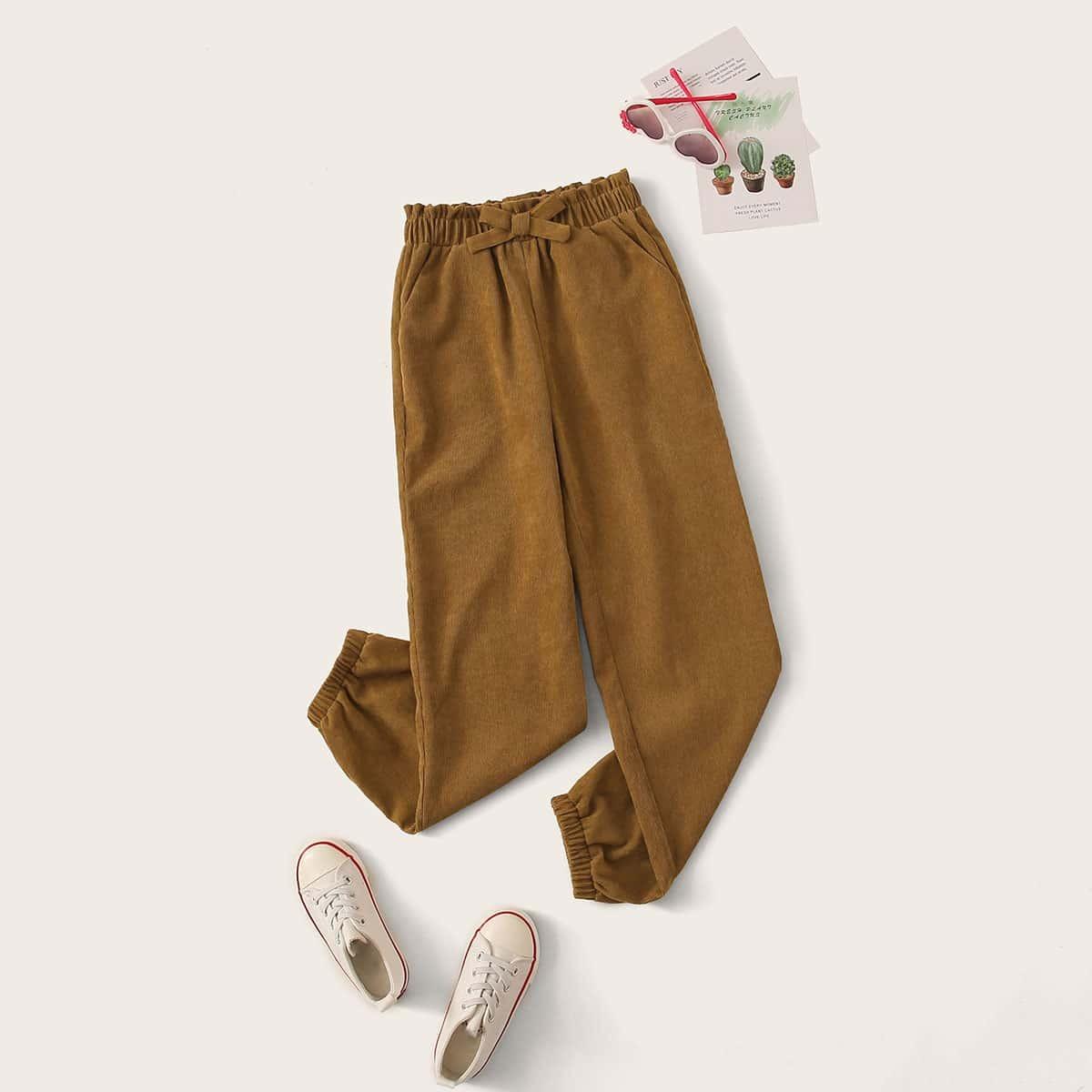 Вельветовые брюки с присборенной талией для девочек от SHEIN