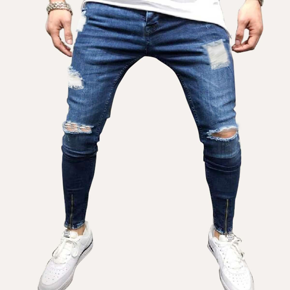 Marine Casual Vlak Heren Jeans Rits