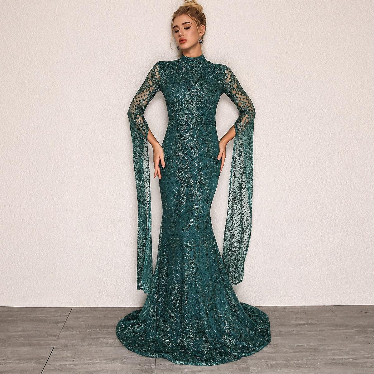 сетчатое платье с длинным рукавом и блестками Image
