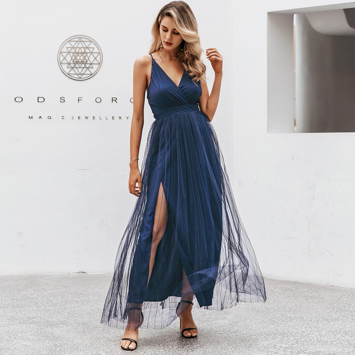 сетчатое платье с разрезом Image