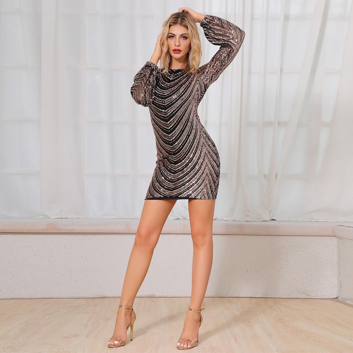 DKRX шевронное облегающее блестящее платье с открытой спиной Image