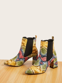 Point Toe Snakeskin Print Chelsea Boots