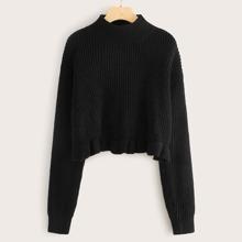 Mock Neck Drop Shoulder Ruffle Hem Sweater