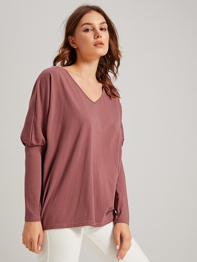 SheIn / V-neck Leg-of-mutton Sleeve Solid Tee