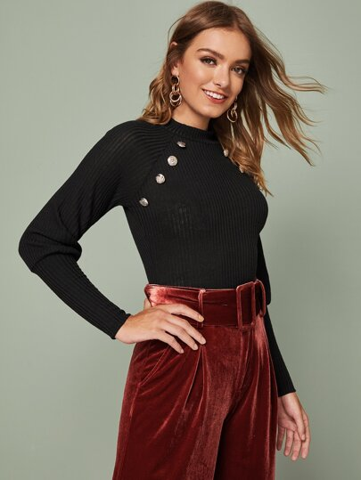 SheIn / Mock-Neck Buttoned Leg-of-mutton Sleeve Top