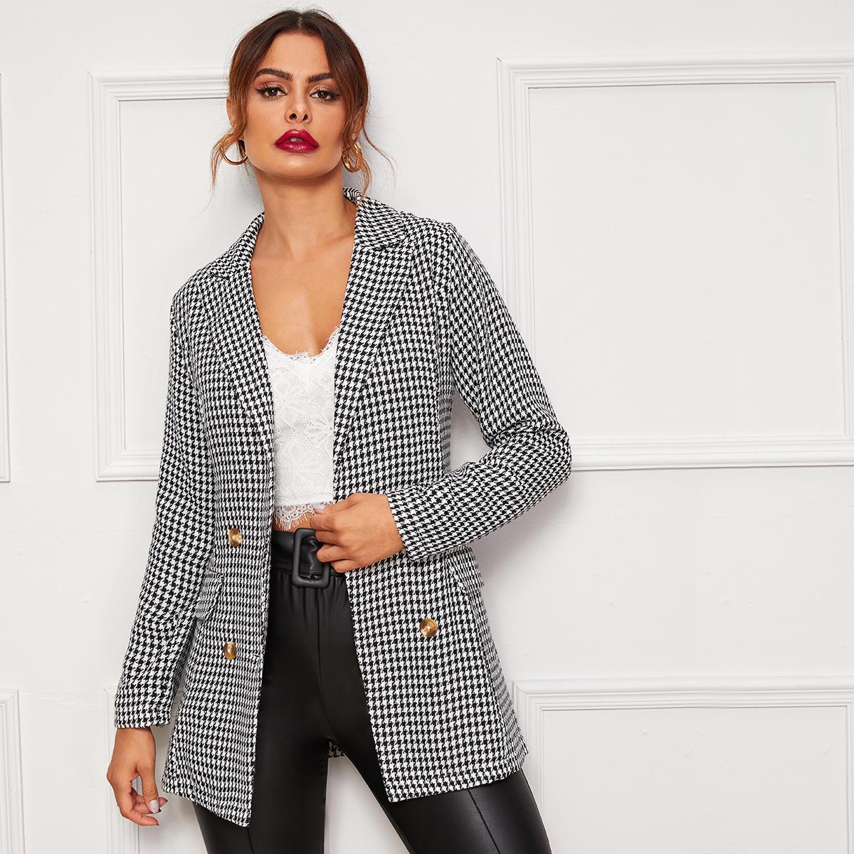 Двубортный пиджак с принтом