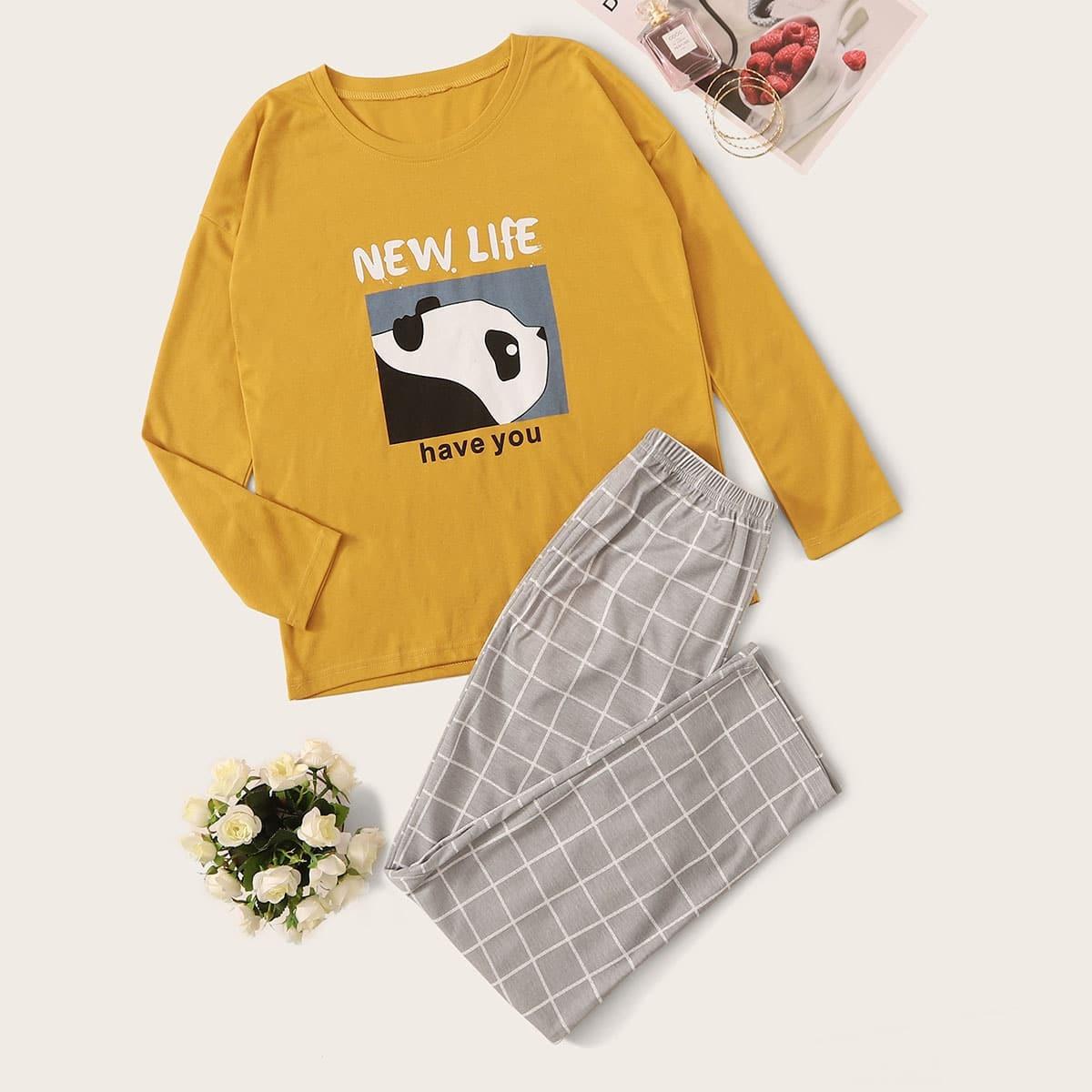 Panda & Letter Print geruite pyjama set