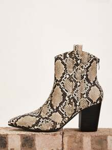 Snakeskin Print Zip Back Chunky Boots