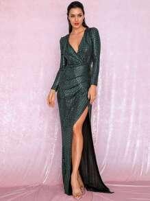 Plunge   Sequin   Dress   Prom   Wrap   Neck