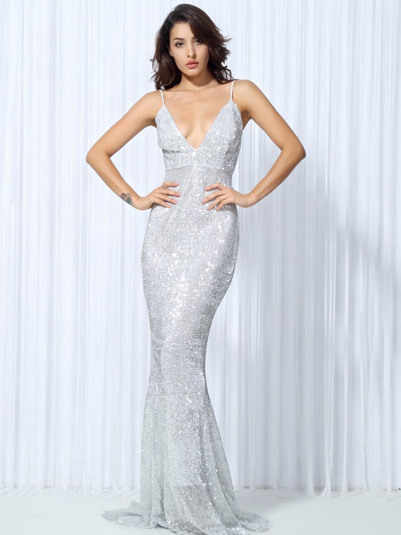 LOVE&LEMONADE платье-русалка на бретелях с блестками