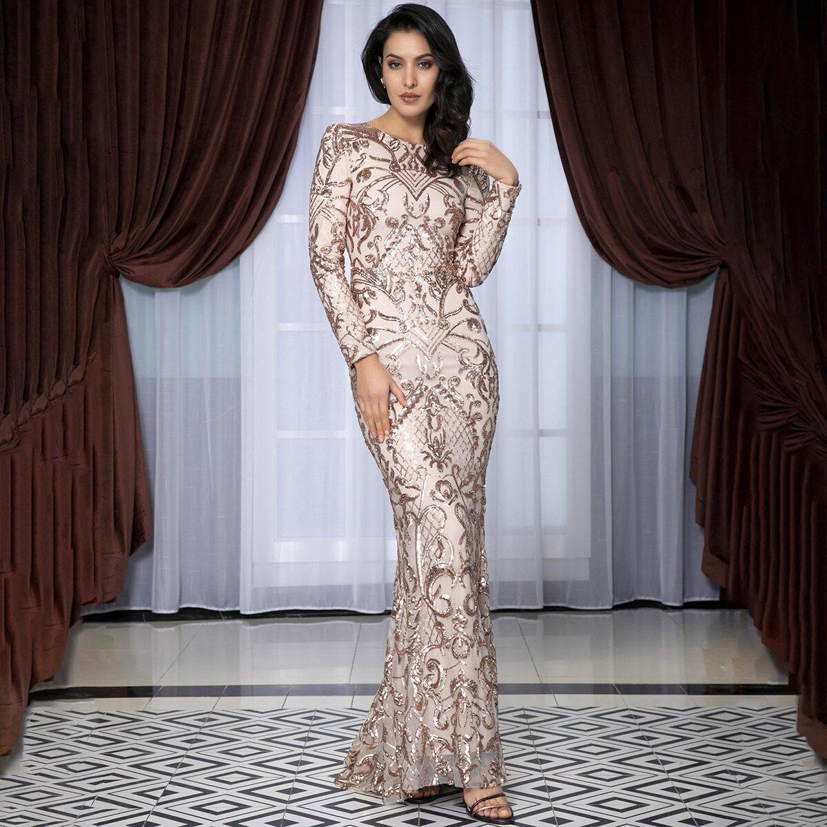 сетчатое платье-русалка с блестками Image