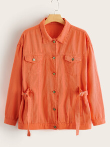 Orange   Jacket   Denim   Neon   Plus   Tie   Ty