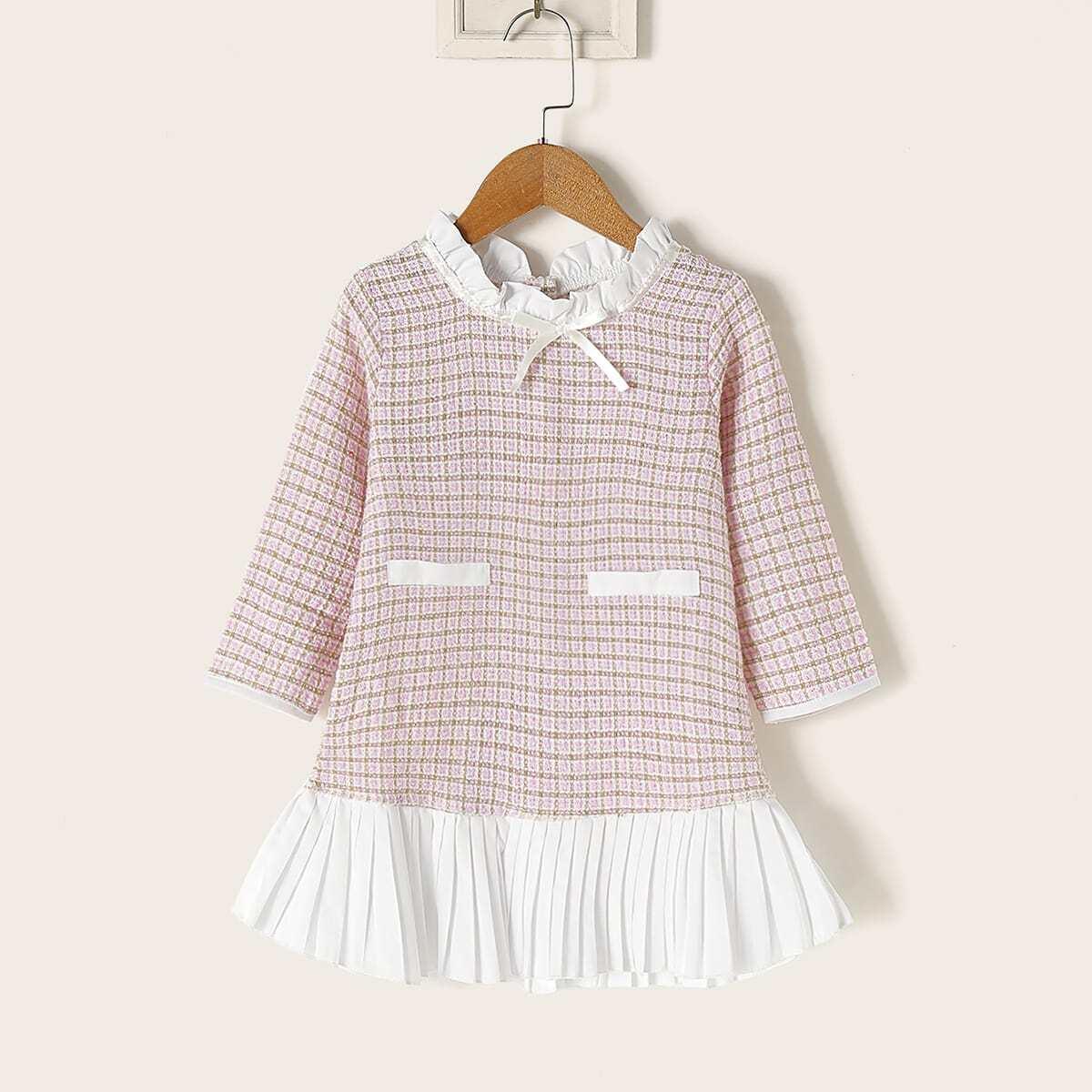 SHEIN / Kleinkind Mädchen Kleid mit Rüsche am Kragen, Kontrast Falten am Saum und Karo Muster