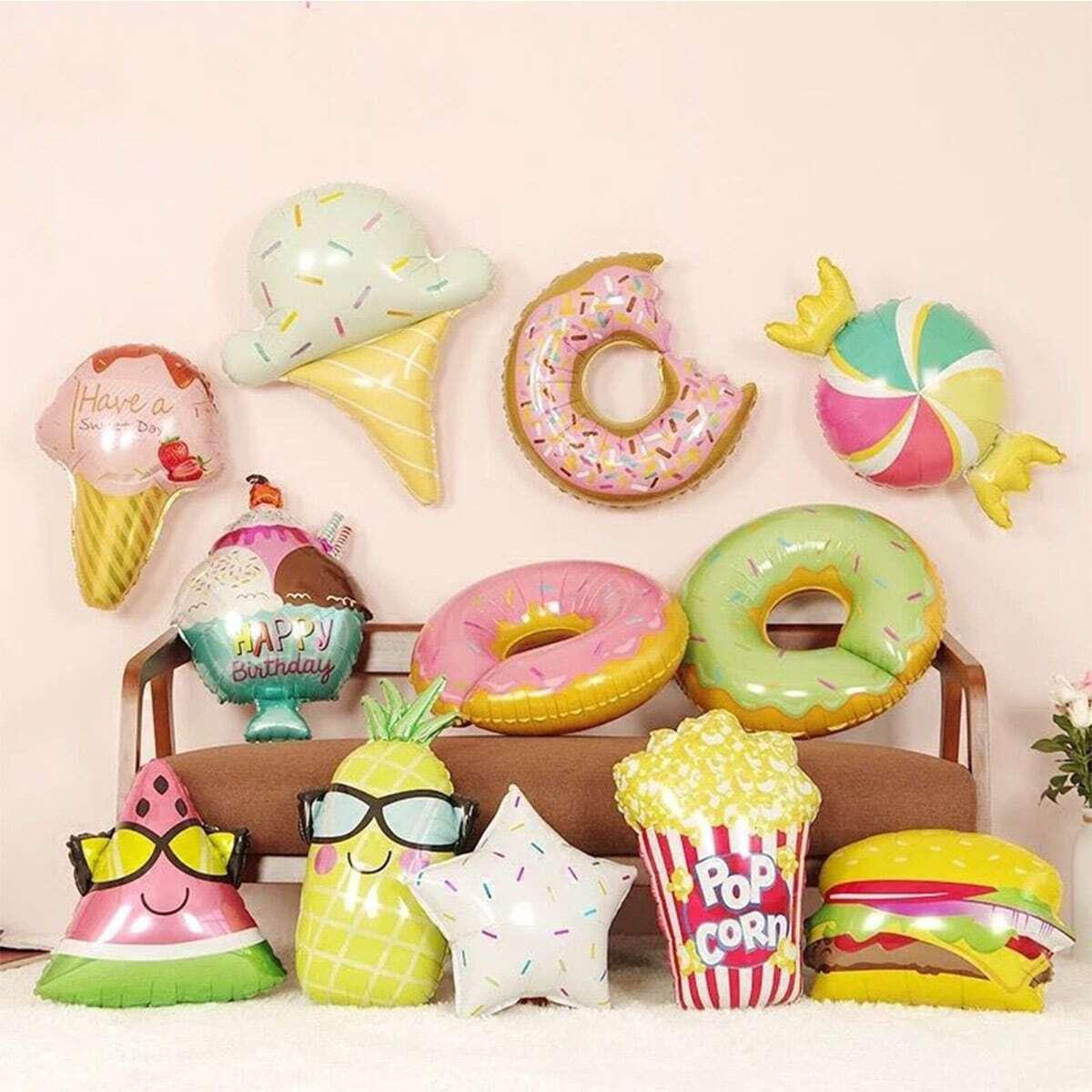 1pc schattig voedsel ontwerp decoratieve ballon