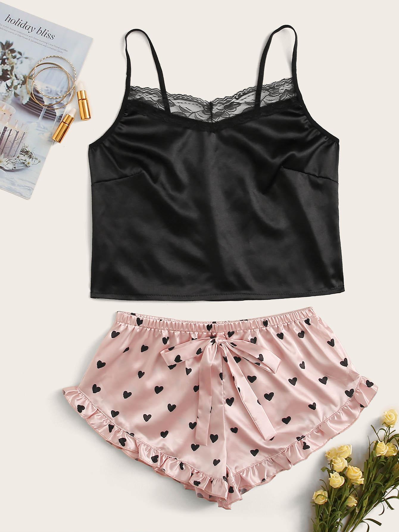 Комплект Атласная Пижама С кружевной Отделкой