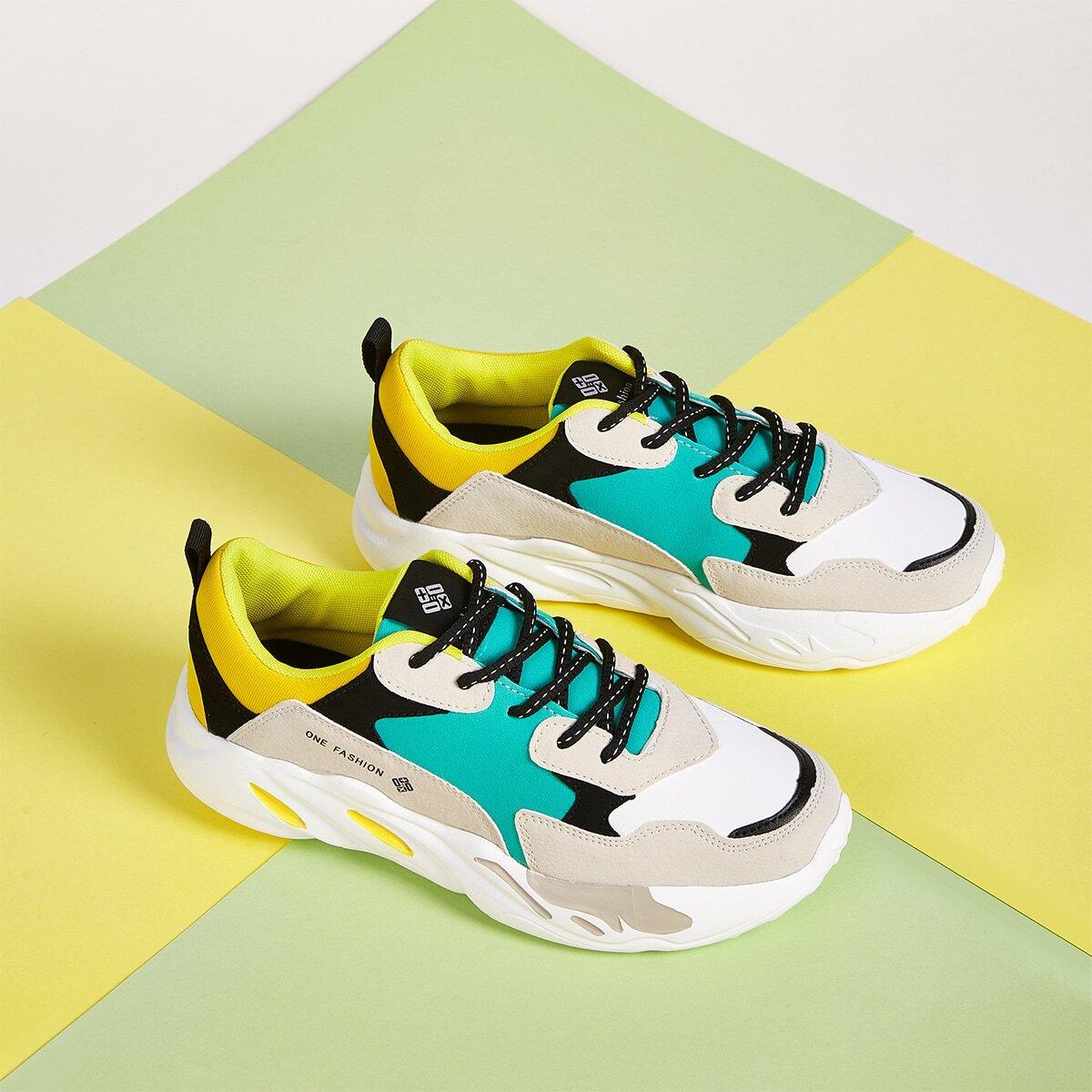 Suede sneakers voor heren, kleurblokken