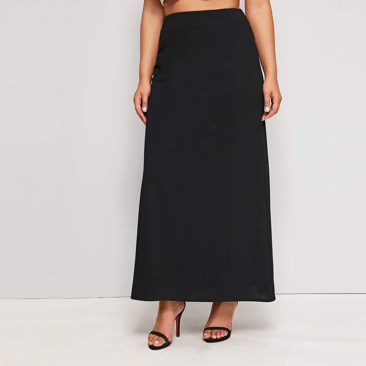 Однотонная макси юбка размера плюс с высокой талией