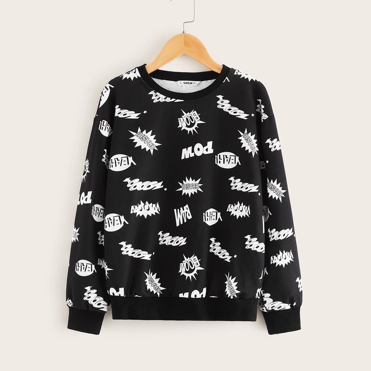 Zwart Casual Tekst Jongens Sweatshirts