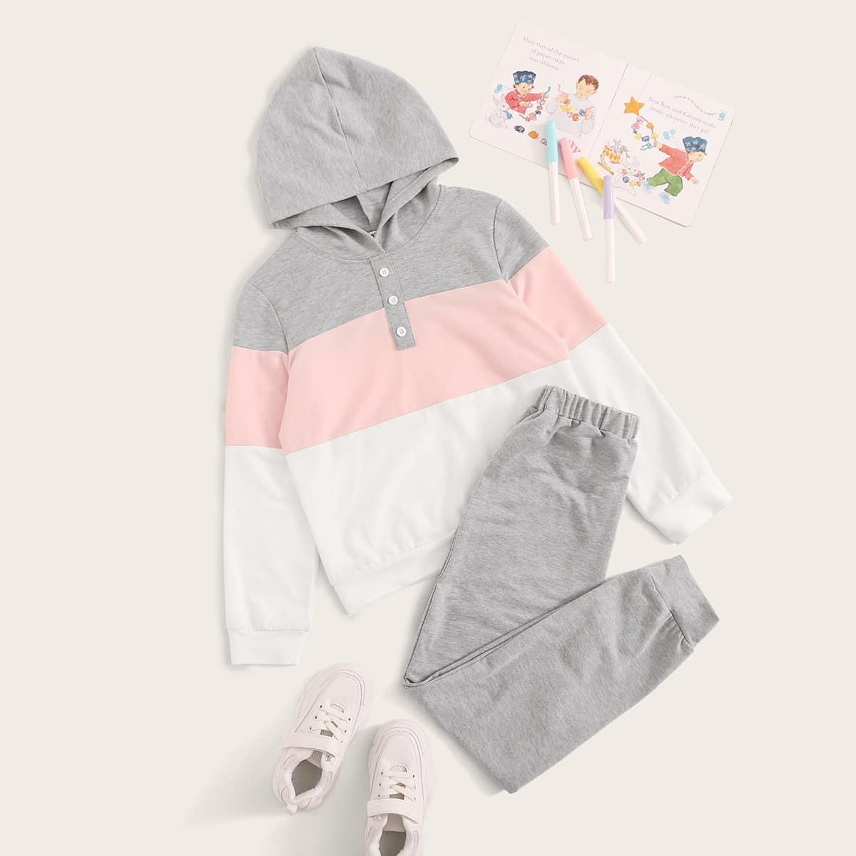 Контрастная толстовка с пуговицами и спортивные брюки для девочек от SHEIN