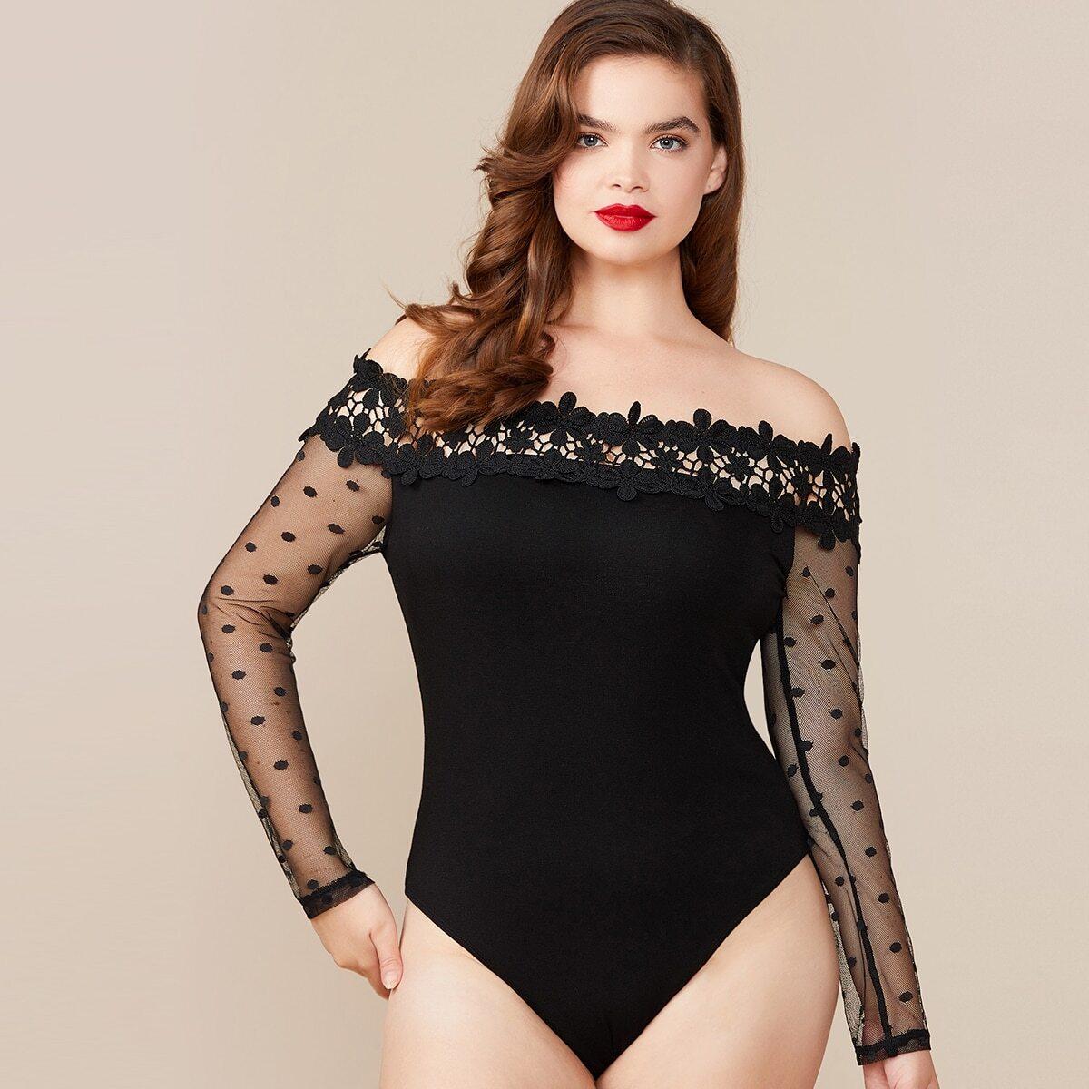 Zwart Elegant Vlak Bodysuits grote maten Contract kant