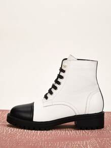 Two Tone Lace-up Front Combat Boots