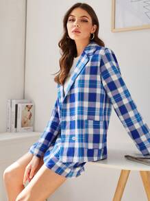 Double Button Plaid Blazer With Skirt