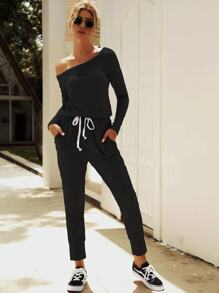 Asymmetrical Neck Drawstring Waist Jumpsuit