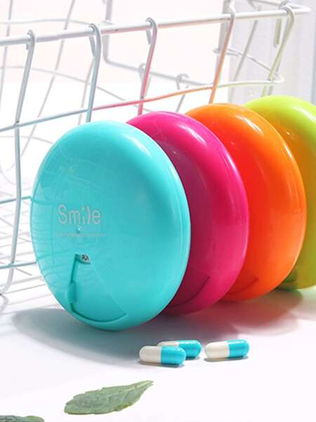 1pc 7 Grid Round Pill Storage Box