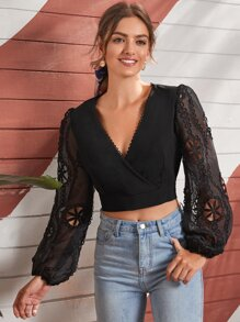 Cut Out Sleeve Surplice Front Crop Blouse
