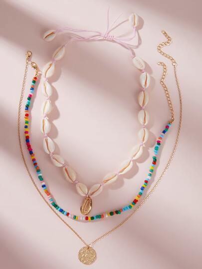 SheIn / Coin & Shell Decor Necklace 3pcs