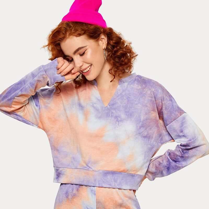 Tie Dye Notch Neck Drop Shoulder Sweatshirt, Multicolor