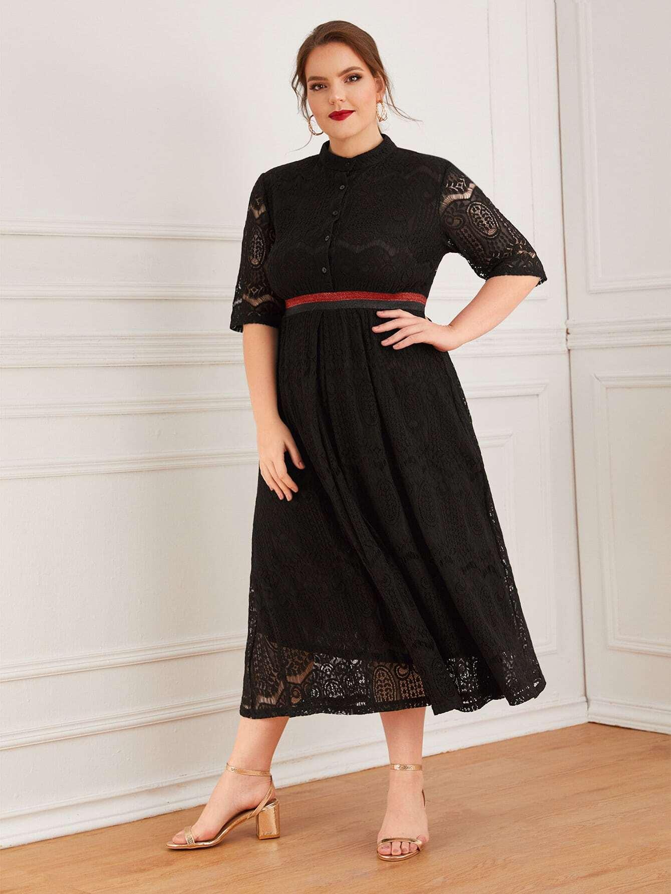 Кружевное платье размера плюс с пуговицами и полосками