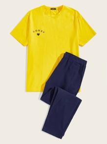 Men Letter & Heart Print Tee And Pants Pj Set
