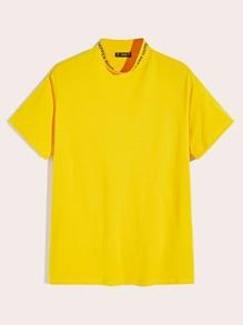 Yellow   Print   Neon   Neck   Men   Top