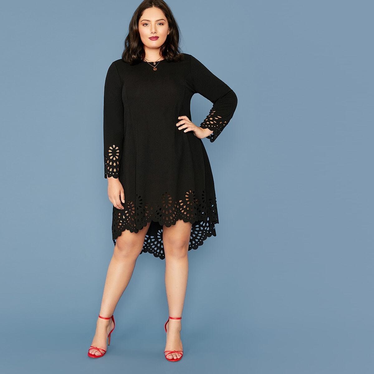 Асимметричное платье размера плюс с фестончатым краем