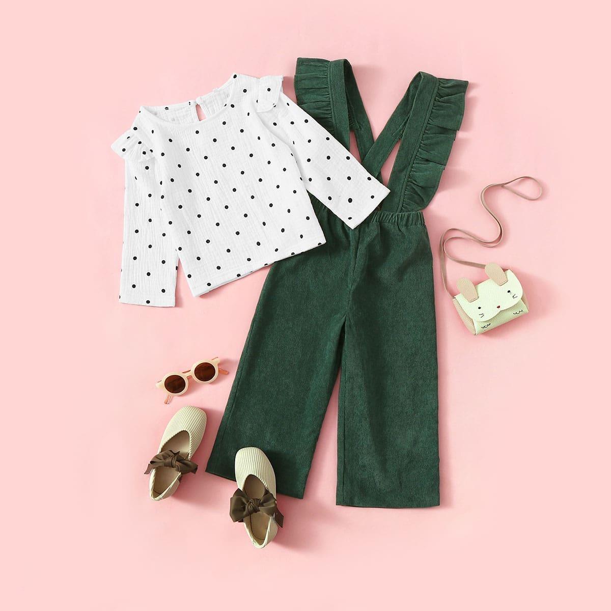 Комбинезон и блуза в горошек для девочек от SHEIN
